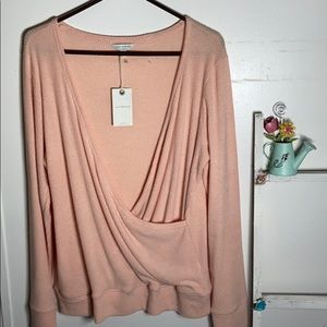 NWT Lucky Brand Peach Blush Wrap Sweater Size L 💋